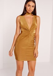 Missguided Twist Front Plunge Bodycon Dress Gold Olive