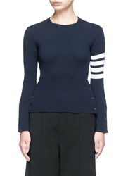 Thom Browne Stripe Sleeve Button Cashmere Sweater Blue