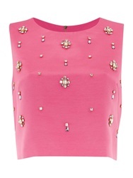 Untold Sleeveless All Over Embellished Top Pink