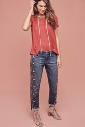 Anthropologie Pilcro Hyphen Mid Rise Embroidered Jeans Moor