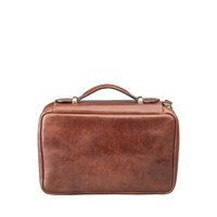 Maxwell Scott Bags Luxury Italian Leather Men's Hanging Toiletry Bag Pratello Chestnut Tan Brown