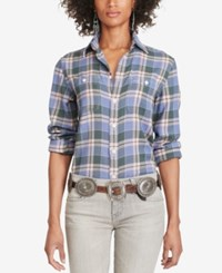 Polo Ralph Lauren Relaxed Fit Plaid Shirt Purple Charcoal