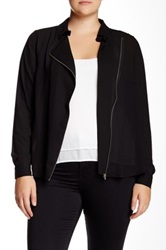 Mynt 1792 Asymmetrical Zip Blouse Jacket Plus Size Black