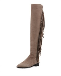 Stuart Weitzman Mane Fringe Over The Knee Suede Boot Taupe