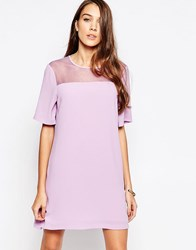 Neon Rose Shift Dress With Sheer Insert And Open Back Pink
