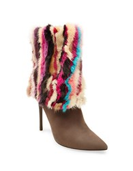 Brian Atwood Herman Suede And Mink Fur Booties Taupe