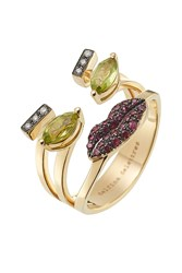 Delfina Delettrez 18K Yellow Gold Ring With Rubies Diamonds And Peridot