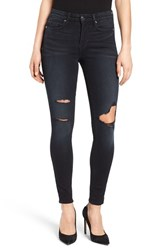 Good American Plus Size Women's Legs Ripped Skinny Jeans Blue 001 Washed Black
