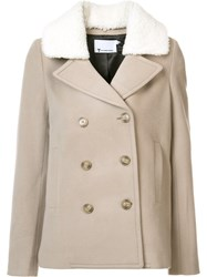 Alexander Wang Shearling Collar Peacoat Nude And Neutrals