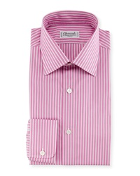 Charvet Ribbon Striped Dress Shirt Pink