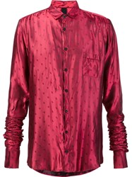 Black Fist Dotted Ruched Sleeve Shirt Red
