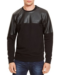 Kenneth Cole Faux Leather Accented Sweater Black