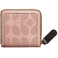 Orla Kiely Sixties Stem Punched Leather Square Zip Wallet Dusky Pink