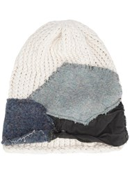 Greg Lauren Patched Knit Beanie White