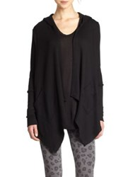 Splendid Hooded Draped Thermal Cardigan Black