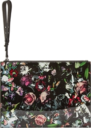 Mcq By Alexander Mcqueen Black And Pink Festive Floral Print Tech Clutch