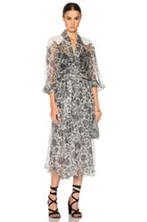 Zimmermann Empire Filigree Dress In Black Floral Metallics