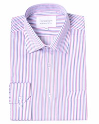 Double Two Stripe Classic Fit Classic Collar Formal Shirt Pink