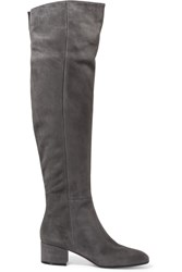 Gianvito Rossi Suede Over The Knee Boots Gray