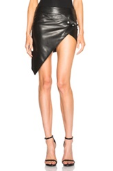 Anthony Vaccarello Asymmetrical Leather Skirt In Black