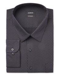 Alfani Men's Big And Tall Classic Fit Performance Black Twinkle Star Print Dress Shirt Only At Macy's