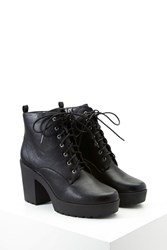 Forever 21 Faux Leather Platform Booties