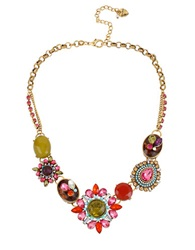 Betsey Johnson Mixed Crystal And Gemstone Statement Necklace Gold