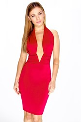 Boohoo Amy Extreme Plunge Halter Neck Dress Red