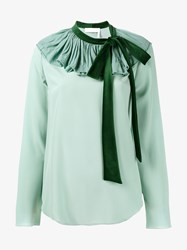 Chloe Blouse With Velvet Tie Blue Green Pale Aqua Blue Azure Denim