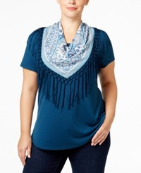 Styleandco. Style Co. Plus Size T Shirt With Printed Scarf Only At Macy's New Rustic Teal
