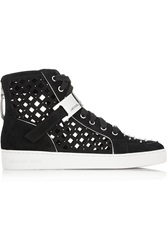 Michael Michael Kors Keaton Studded Cutout Suede High Top Sneakers