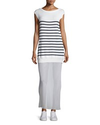 T By Alexander Wang Striped Cotton Silk Long V Back Maxi Dress Off White Navy Size 4 Off White And Nav
