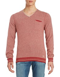 Hugo Boss V Neck Striped Pullover Medium Red