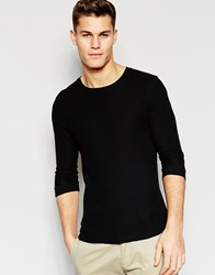 Asos Waffle Jersey Muscle 3 4 Sleeve T Shirt In Black Black