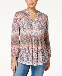 American Rag Plus Size Chevron Floral Print Blouse Only At Macy's Malaga Combo