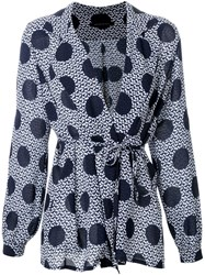 Mother Of Pearl Polka Dot Print Blouse Blue