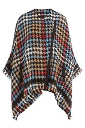 Etro Houndstooth Knit Poncho Multicolor