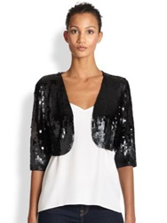 Harrison Morgan Matte Sequined Bolero Jacket Black