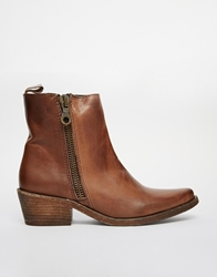 Gardenia Leather Flat Boots With Side Zip Vulcanobrown