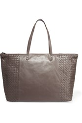 Bottega Veneta Shopping Intrecciato Leather Tote Mushroom