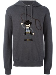 Dolce And Gabbana Cowboy Patch Hoodie Grey