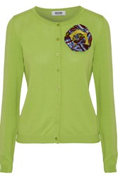 Moschino Cheap And Chic Brooch Embellished Cotton Cardigan Green