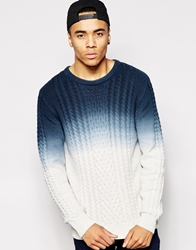 Bellfield Dip Dye Cable Knit Jumper Navy