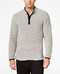 Kenneth Cole Reaction Men's Fleece Henley Lounge Top Grey