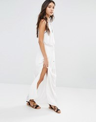 Vero Moda Embroidered Halter Neck Maxi Dress White