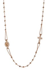 Savvy Cie 14K Rose Gold Plated Sterling Silver Italian Crystal Rosary And Cross Charm Necklace Metallic