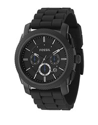 Fossil Mens Black Silicone Chronograph Watch