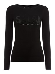 Salsa Long Sleeve Knitted Sweater Black