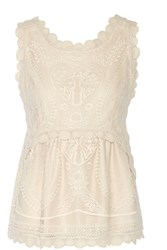 Anna Sui Crochet Trimmed Embroidered Stretch Tulle Top Cream