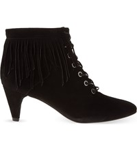 Reiss Leighton Fringed Suede Ankle Boots Burgundy